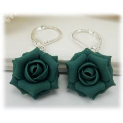 Teal Rose Drop Earrings