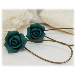 Teal Rosebud Drop Earrings