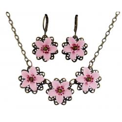Three Cherry Blossoms Jewelry Set