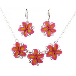 Three Plumerias Jewelry Set
