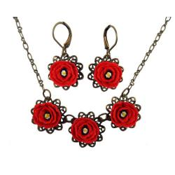 Three Red Poppies Jewelry Set