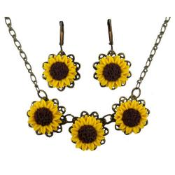 Three Sunflowers Jewelry Set