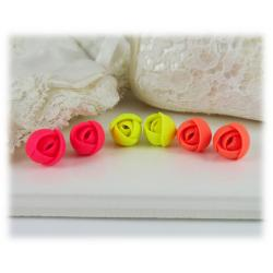 Tiny Neon Flower Earrings