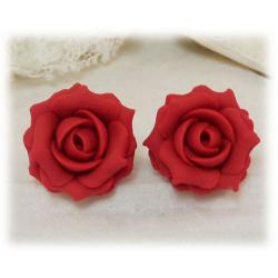 Red Tomato Rose Stud Earrings