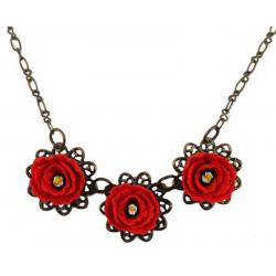 Trio Red Poppy Necklace