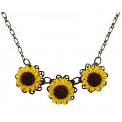 Trio Sunflower Necklace