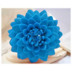 Large Turquoise Chrysanthemum Brooch Pin