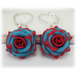 Turquoise Red Rose Earrings