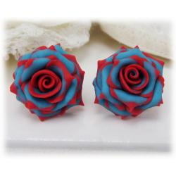 Turquoise Red Rose Stud Earrings