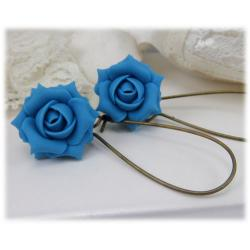 Turquoise Rose Drop Earrings