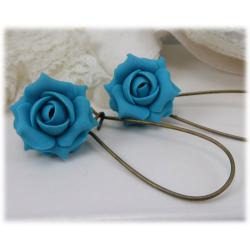 Turquoise Light Rose Drop Earrings