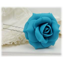 Turquoise Rose Hair Pins