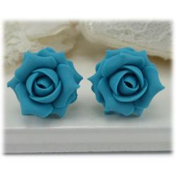 Turquoise Light Rose Stud Earrings