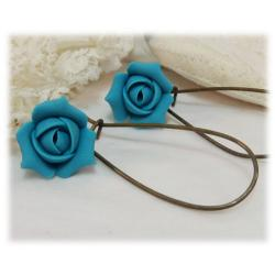 Turquoise Rosebud Drop Earrings