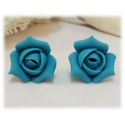 Turquoise Rosebud Stud Earrings