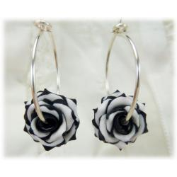 Variegated Rose Hoop Earrings