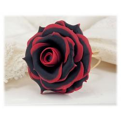 Black Tip Red Rose Ring