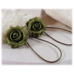 Green Vintage Rose Drop Earrings