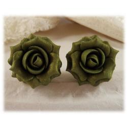 Green Vintage Rose Stud Earrings