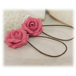 Pink Vintage Rose Drop Earrings