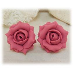 Pink Vintage Rose Stud Earrings