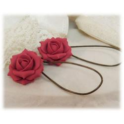 Pink Watermelon Rose Drop Earrings