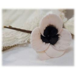 White Black Crystal Pansy Hair Pins