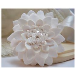 Large White Chrysanthemum Brooch Pin
