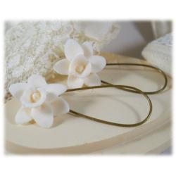 White Daffodil Drop Earrings