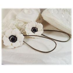 White Black Anemone Drop Earrings