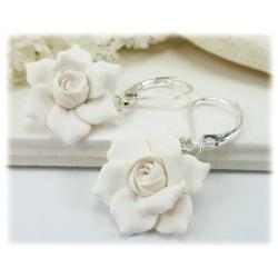 White Gardenia Drop Earrings