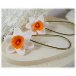 White Orange Daffodil Drop Earrings