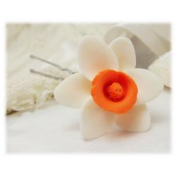 White Orange Daffodil Hair Pins