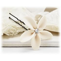 White Plumeria Crystal Hair Pin