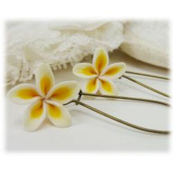 White Plumeria Drop Earrings