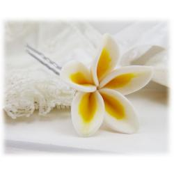 White Plumeria Hair Pins