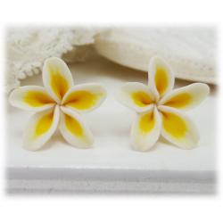White Plumeria Stud Earrings