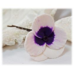 White Purple Crystal Pansy Hair Pins