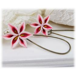 White Red Lily Drop Earrings