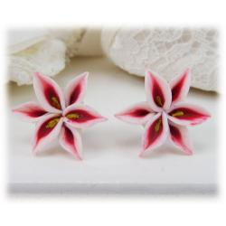 White Red Lily Stud Earrings