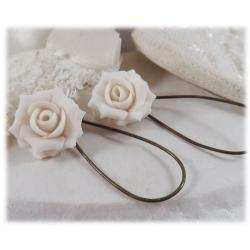White Rose Drop Earrings