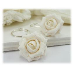 White Rose Glitter Drop Earrings