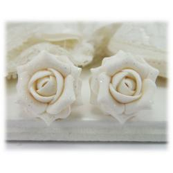 White Rose Glitter Stud Earrings