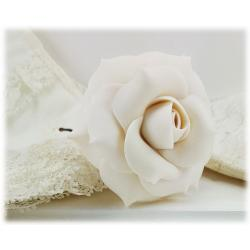 White Ivory Rose Hair Pins