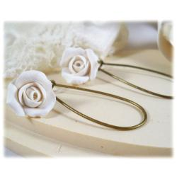 White Ivory Rosebud Drop Earrings