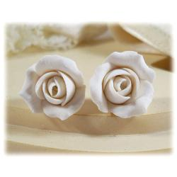White Ivory Rosebud Stud Earrings