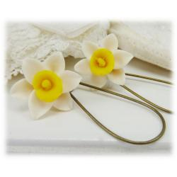 White Yellow Daffodil Drop Earrings
