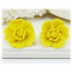 Yellow Buttercup Stud Earrings