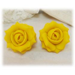 Yellow Canary Rose Stud Earrings