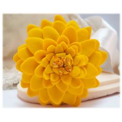 Large Yellow Chrysanthemum Brooch Pin
